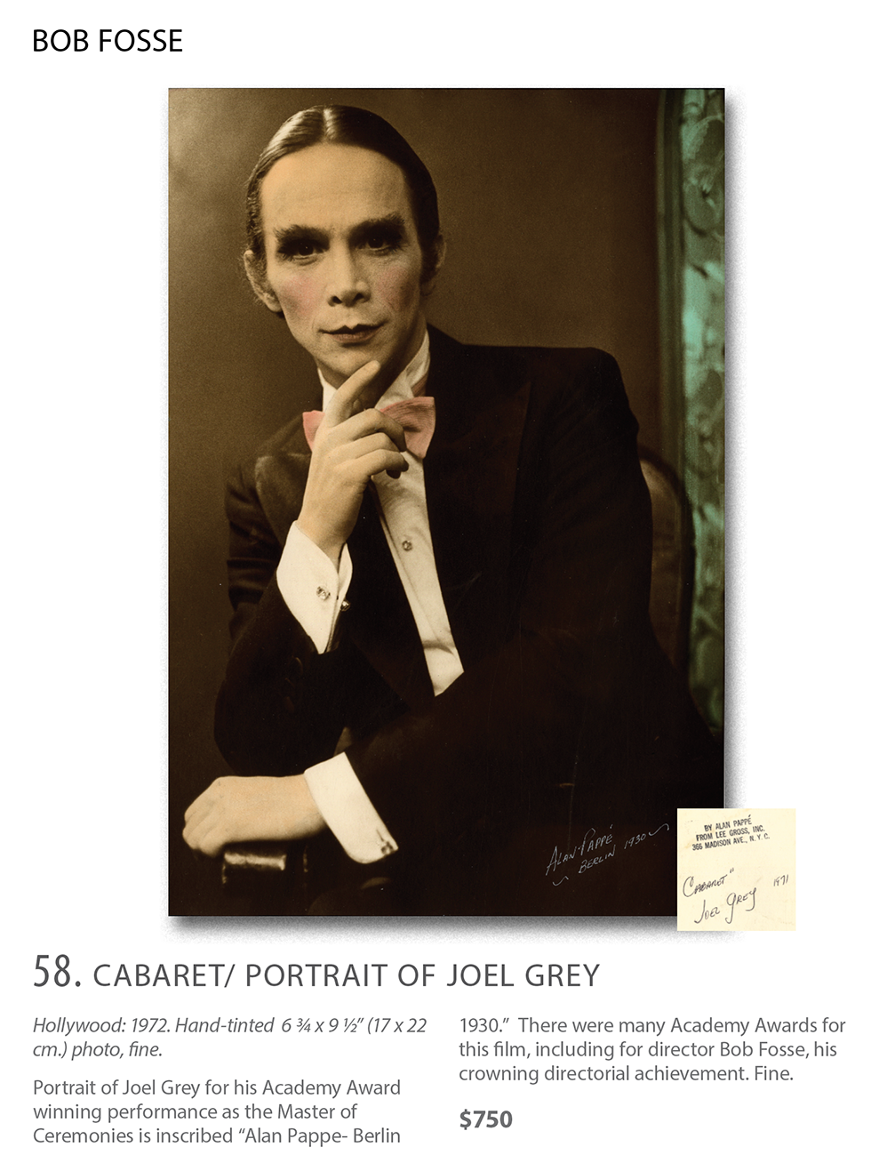 Portrait of Joel Grey as MC in Cabaret